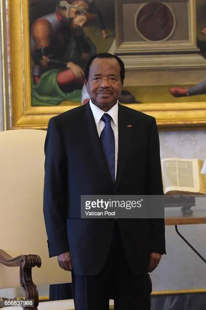 President of the Republic of Cameroon, Paul Biya meets Pope Francis during a private audience at the Apostolic Palace on March 23, 2017 in Vatican...