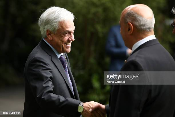 President of the Republic of Chile Sebastian Pinera is welcomed at Government House in on November 19 2018 in Auckland New Zealand It is President...