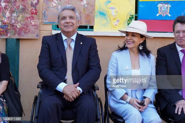 President of the Republic of Ecuador Lenin Moreno and his wife Rocío Gonzalez visit the Republica de Venezuela school in Madrid