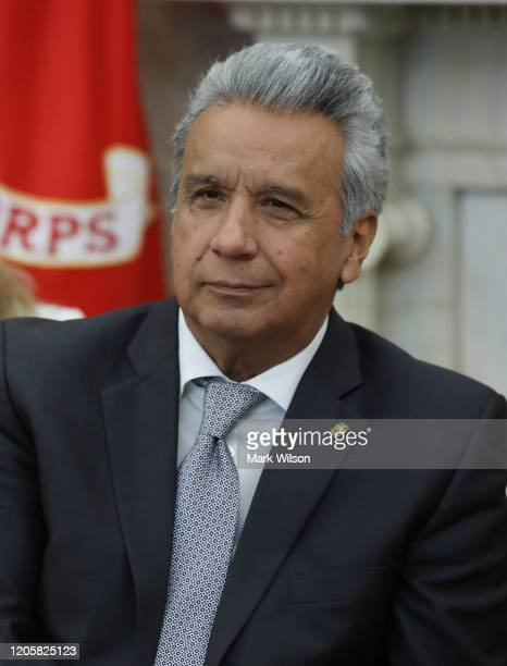 President of the Republic of Ecuador Lenín Moreno listens to U.S. President Donald Trump speak, during a meeting in the Oval Office at the White...