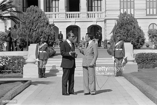 President of the Republic of Egypt Anwar Al Sadat interviewed by French journalist Yves Mourousi