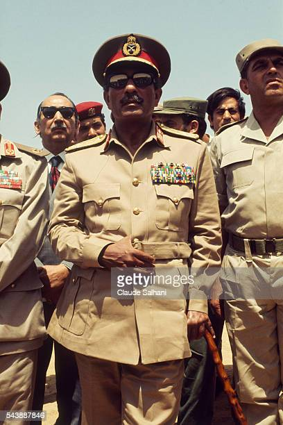 President of the Republic of Egypt Anwar Al Sadat visits the Suez Canal on the occation of the 7th anniversary of the war of June 1967
