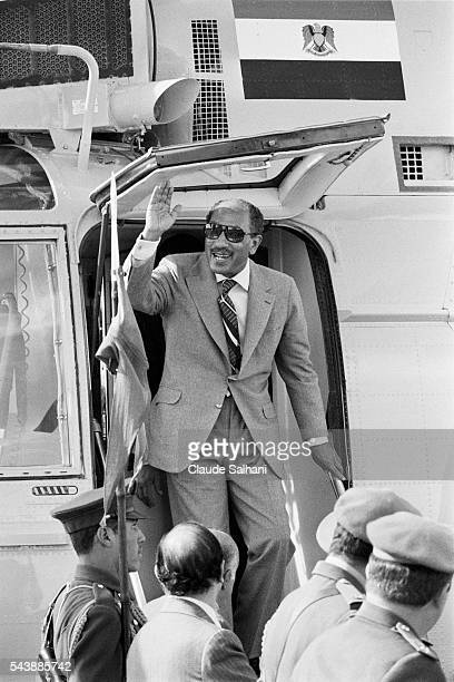 President of the Republic of Egypt Anwar Sadat arrives for inauguration of the new city of Serabium on the banks of the Suez Canal near Ismailia |...