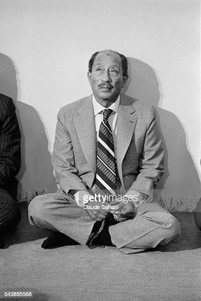 President of the Republic of Egypt Anwar Sadat come for the inauguration of the new city of Serabium along the Suez Canal near Ismailia attends...