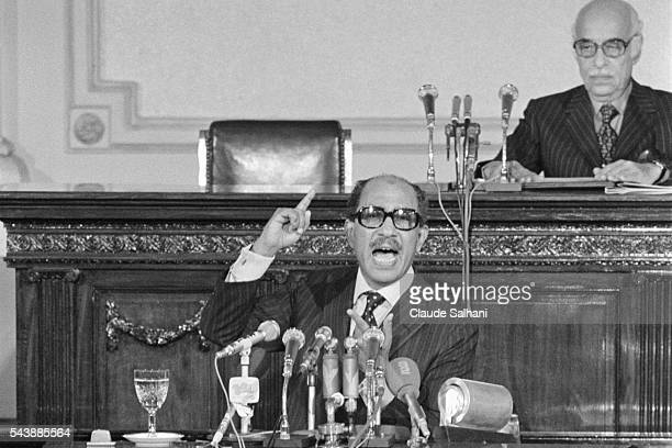 President of the Republic of Egypt Anwar Sadat delivers an important speech to the Egyptian people about the conflict in the Middle East