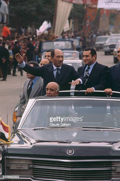 President of the Republic of Egypt Anwar Sadat makes an official visit to Ismailia where he is triumphantly welcomed with Vice President Hosni...