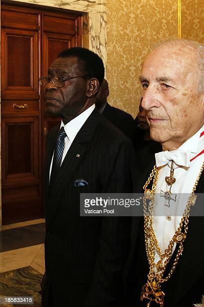 President of the Republic of Equatorial Guinea, Teodoro Obiang Nguema Mbasogo flanked by a Vatican Gentleman arrives at Vatican for an audience with...