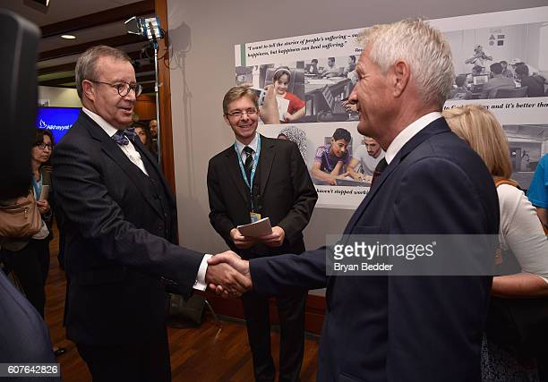 President of the Republic of Estonia Toomas Hendrik Ilves and Council of Europe Secretary General Thorbjorn Jagland attend UNICEF House at an event...
