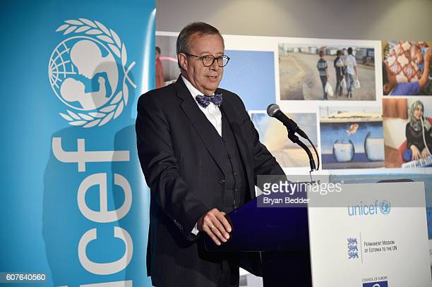 President of the Republic of Estonia Toomas Hendrik Ilves speaks onstage at UNICEF House at an event calling on world leaders to put children first...