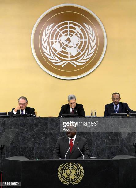 President of the Republic of Ghana John Dramani Mahama addresses the 68th United Nations General Assembly at UN headquarters on September 26 2013 in...