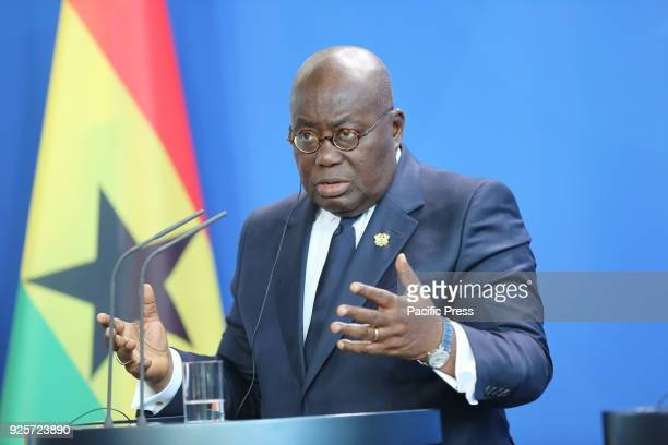 President of the Republic of Ghana Nana Addo Dankwa AkufoAddo at the press conference in the Federal Chancellery