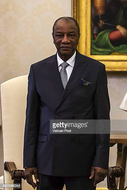 President of the Republic of Guinea Alpha Conde meets Pope Francis at the Apostolic Palace on January 16 2017 in Vatican City Vatican The colloquiums...