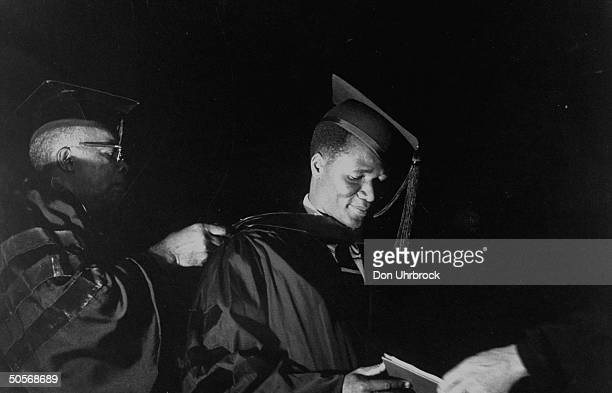 President of the Republic of Guinea Sekou Toure receiving an honorary degree from North Carolina College