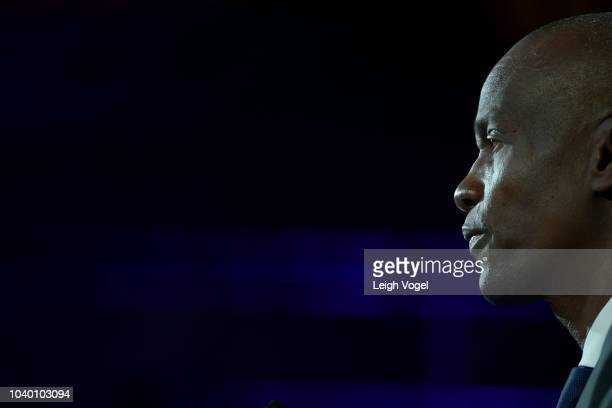 President of the Republic of Haiti H.E. Jovenel Moise speaks onstage during the 2018 Concordia Annual Summit - Day 2 at Grand Hyatt New York on...