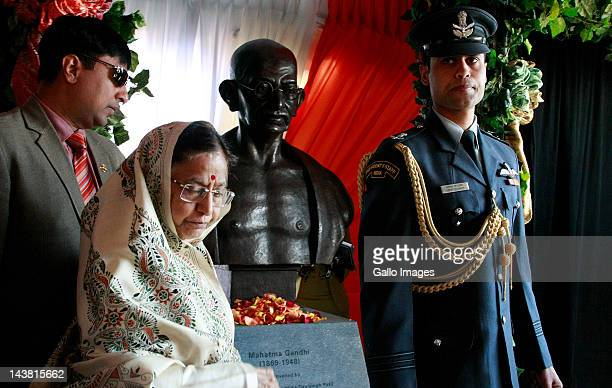 President of the Republic of India Pratibha Devisingh Patil attends an unveiling ceremony of a Mahatma Gandhi Bust at Constitutional Hill on May 3...