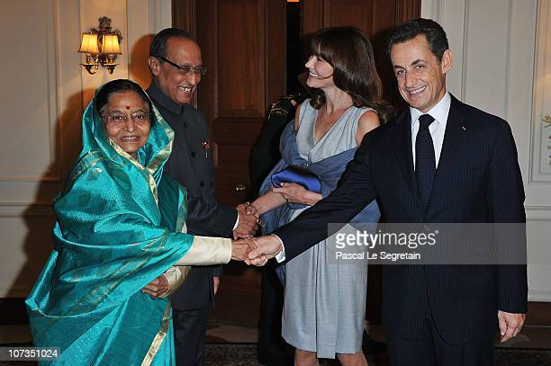 President of the Republic of India Pratibha Patil Dr Devisingh Shekkawat French first lady Carla BruniSarkozy and French President Nicolas Sarkozy...
