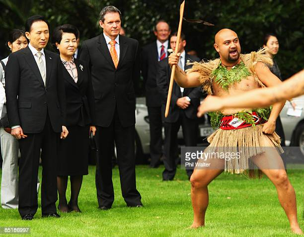 President of the Republic of Korea Lee Myungbak and his wife Kim Yoon Ok are welcomed onto the grounds of Government House after accepting the...