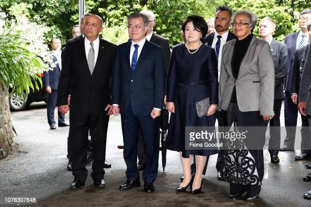 President of the Republic of Korea Moon Jae-in and his wife Kim Jung-sook are welcomed with a traditional Maori powhiri at Government House on...