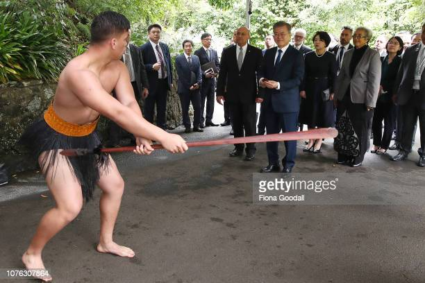 President of the Republic of Korea Moon Jaein and his wife Kim Jungsook are welcomed with a traditional Maori powhiri at Government House on December...