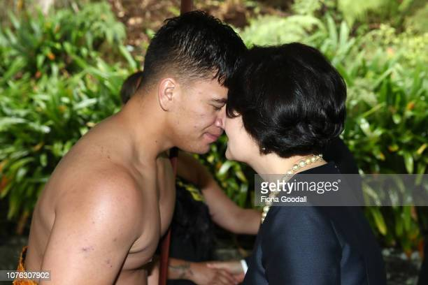President of the Republic of Korea Moon Jae-in and his wife Kim Jung-sook are welcomed with a hongi on December 03, 2018 in Auckland, New Zealand....