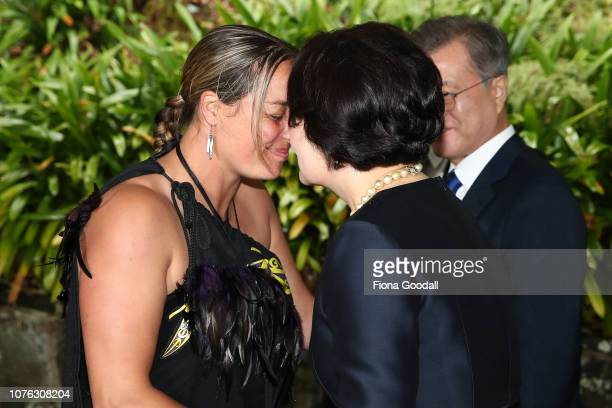 President of the Republic of Korea Moon Jaein and his wife Kim Jungsook are welcomed with a hongi on December 03 2018 in Auckland New Zealand The...