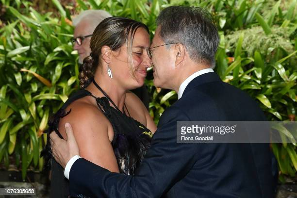 President of the Republic of Korea Moon Jaein is welcomed with a hongi at Government House on December 03 2018 in Auckland New Zealand The South...
