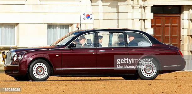 President of the Republic of Korea Park Geunhye and Prince Andrew Duke of York arrive in one of Queen Elizabeth II's Bentley cars for The President's...