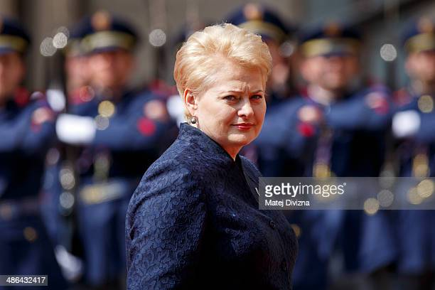 President of the Republic of Lithuania Dalia Grybauskaite arrives for the meeting on the 5th Anniversary of the Eastern Partnership at Prague Castle...