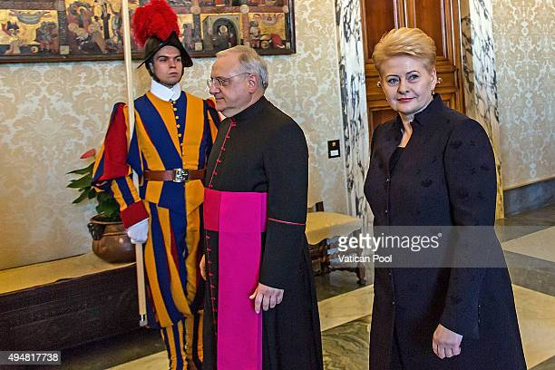 President of the Republic of Lithuania Ms Dalia Grybauskaite arrives at the Apostolic Palace for a private audience with Pope Francis on October 29...
