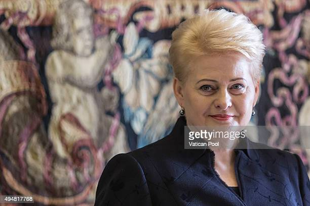 President of the Republic of Lithuania Ms Dalia Grybauskaite attends a private audience with Pope Francis at the Apostolic Palace on October 29 2015...