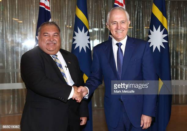 President of the Republic of Nauru Baron Divavesi Waqa meets with Australian Prime Minister Malcolm Turnbull at the Commonwealth Parliamentary...