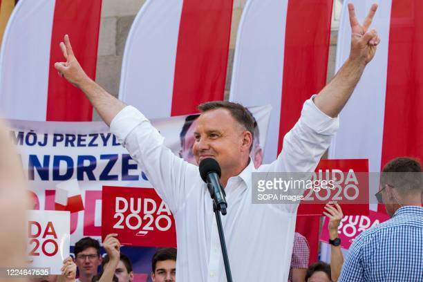 President of the Republic of Poland Andrzej Duda speaks to his supporters during the campaign after the first round of presidential elections....