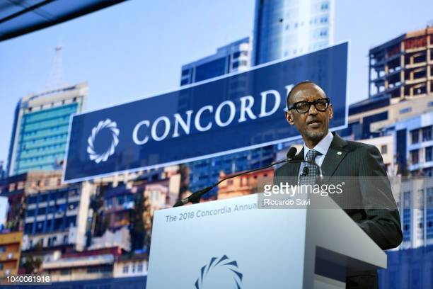 President of the Republic of Rwanda H.E. Paul Kagame speaks onstage during the 2018 Concordia Annual Summit - Day 2 at Grand Hyatt New York on...