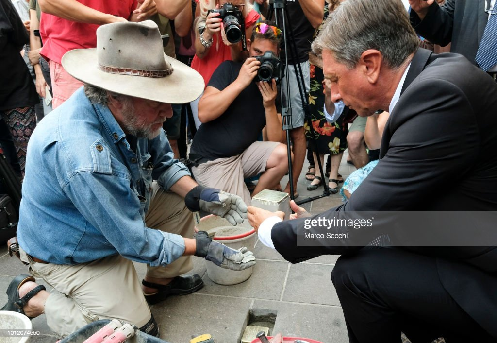 Slovenian President Borut Pahor And German Artist Gunter Demnig Lay Stumbling Stones In Ljubljana