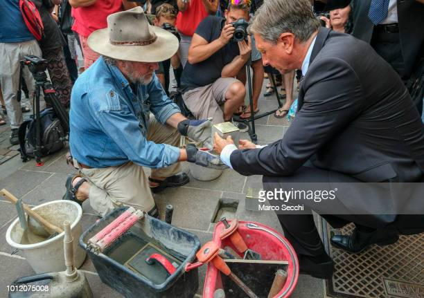 President of the Republic of Slovenia Borut Pahor and German artist Gunter Demnig lay a block installation in the city center to remember the...