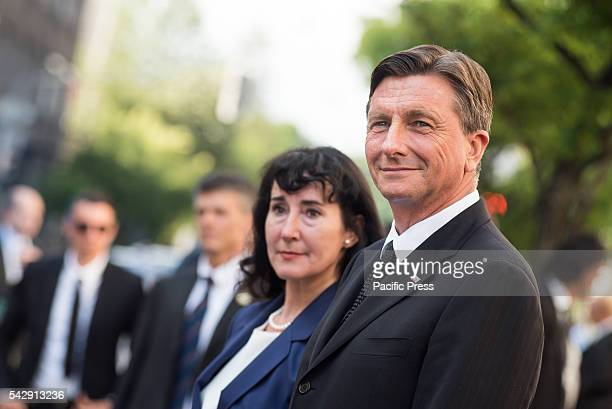 President of the Republic of Slovenia Borut Pahor and his wife Tanja Pecar during the ceremony for 25 years of independence of the Republic of...