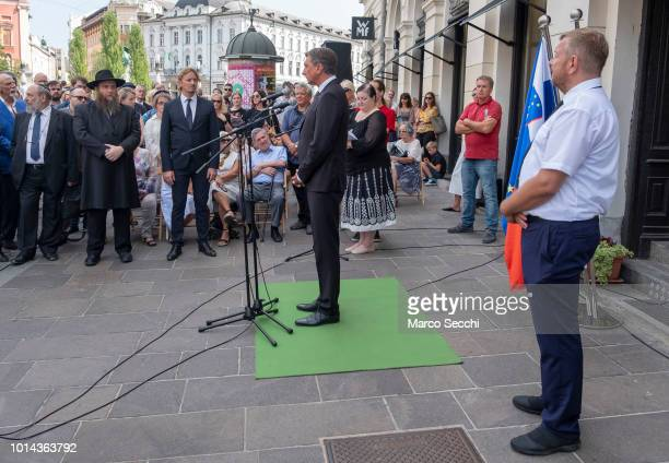 President of the Republic of Slovenia Borut Pahor and Robert Waltl of the Jewish Cultural Centre Ljubljana ahead of the ceremony to lay a block...