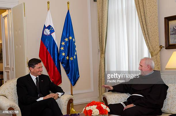 President of the Republic of Slovenia Borut Pahor greets the newly appointed Archbishop Stanislav Zore