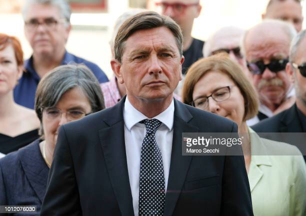 President of the Republic of Slovenia Borut Pahor stands ahead of the laying of a 'Stolpersteine' in the city centre to remember the Slovenian Jews...