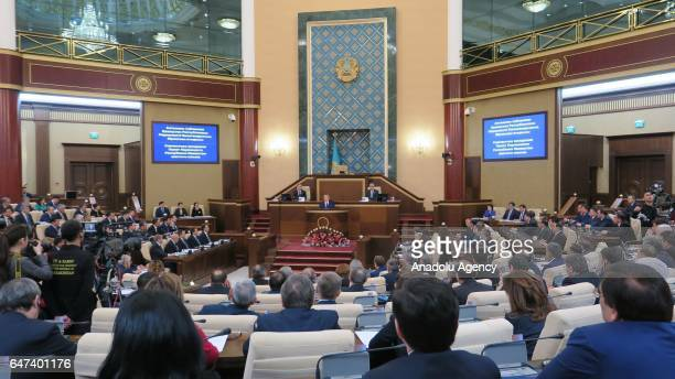 President of the Republic of the Kazakhstan Nursultan Abishevich Nazarbayev speaks during the plenary session regarding the discussions about...