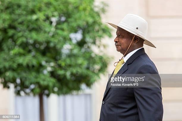 President of the Republic of Uganda Yoweri Kaguta Museveni arrives to meet French President Francois Hollande at the Elysee Palace on September 19...