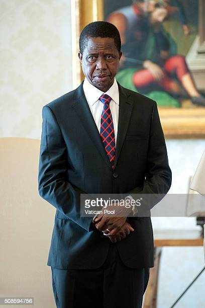 President of the Republic of Zambia Edgar Lungu during a meeting with Pope Francis on February 5 2016 in Vatican City Vatican the discussion focused...