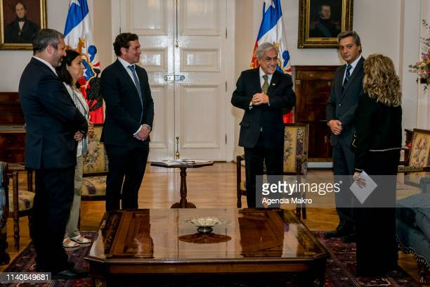President of the Republic Sebastián Piñera together with the Minister of Sport Pauline Kantor talk with the President of CONMEBOL Alejandro Domínguez...