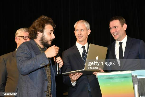 President of the Ricard Foundation Philippe Savinel artist Neil Beloufa Franck Rister French Culture minister and Alexandre Ricard chairman and CEO...
