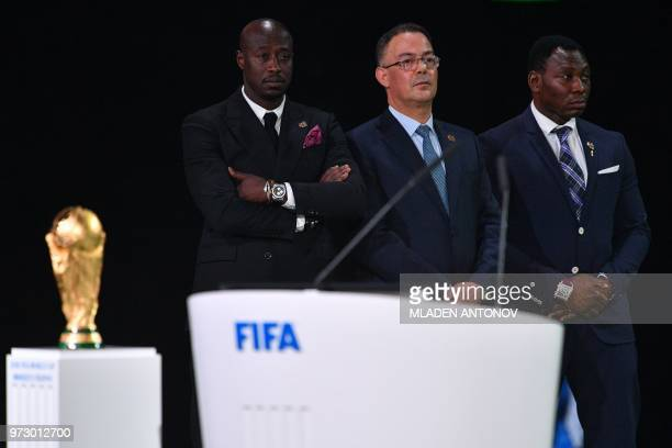 President of the Royal Moroccan Football Federation Fouzi Lekjaa attends the presentation of the Morocco 2026 bid during the 68th FIFA Congress at...