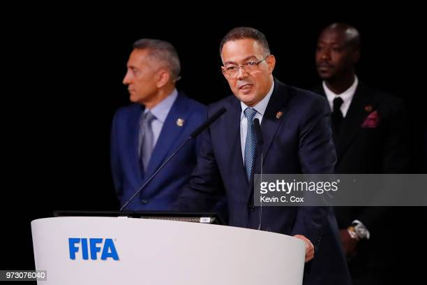 President of the Royal Moroccan Football Federation Fouzi Lekjaa presents the Morocco 2026 bid during the 68th FIFA Congress at Moscow's Expocentre...