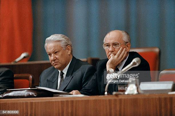President of the Russian Federation Boris Yeltsin and President of the Soviet Union Mikhail Gorbachev attend the Congress of People's Deputies of...