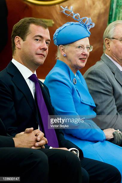 President of the Russian Federation Dmitry Medvedev and Queen Margrethe of Denmark take part in day one of the Danish state visit to the Russian...
