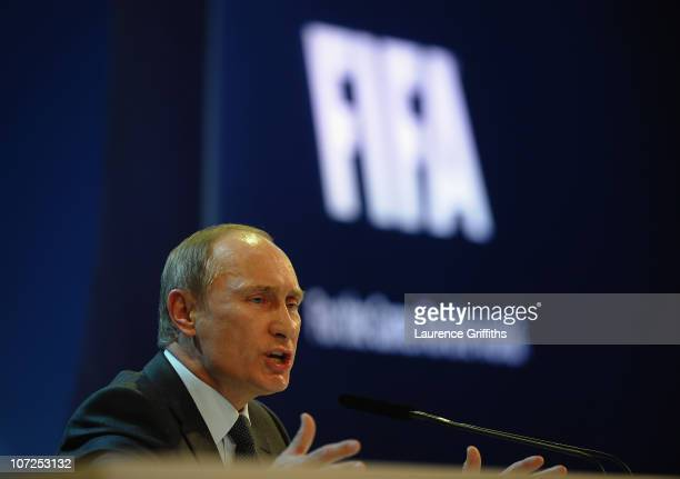 President of the Russian Federation Vladimir Putin speaks to the media after winning the 2018 bid during the FIFA World Cup 2018 2022 Host Countries...