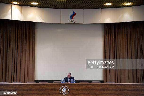 President of the Russian Olympic Committee Stanislav Pozdnyakov attends a conference of Russia's Athletics Federation in Moscow on February 28, 2020.